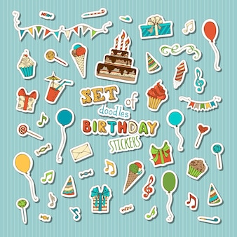 Birthday cake with candles, birthday hats and gifts, cupcakes and drinks, balloons, music notes, blowouts, garland, firework.