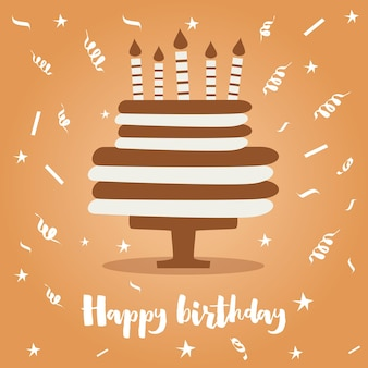 Birthday cake with candles and confetti. vector illustration.