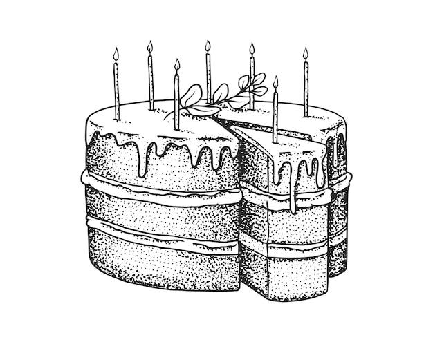 キャンドルとバースデーケーキ。フルーツデザートまたはタルト。手描きのベーカリー製品。お祝いのスイーツ