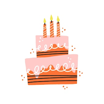 Birthday cake with candles. hand drawn vector illustration for card, banner, t shirt