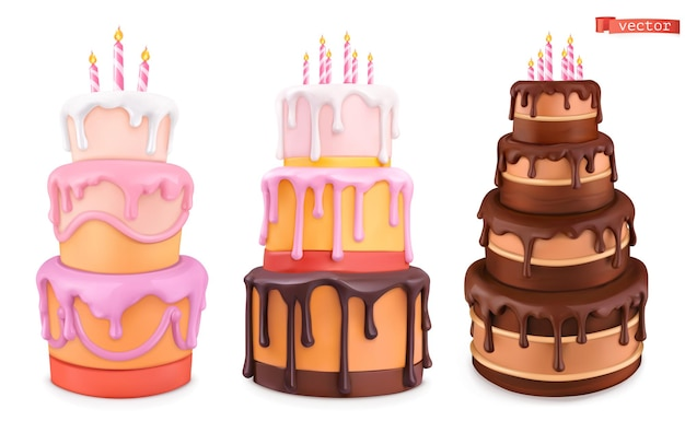 Birthday cake with candles. happy birthday cartoon. 3d realistic vector set of objects