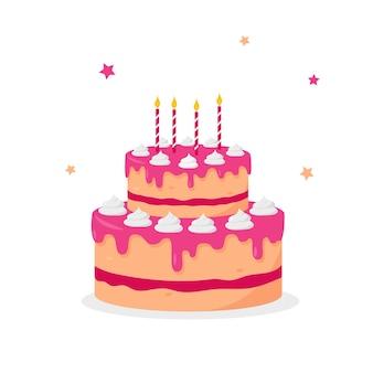 Торт ко дню рождения при свечах изолированные на белой предпосылке.
