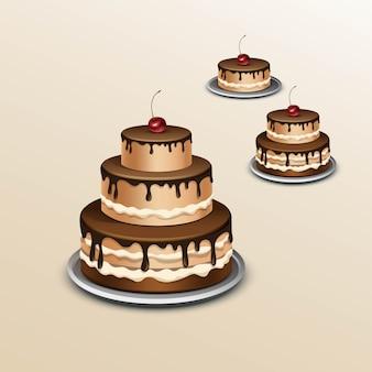 체리와 함께 생일 케이크.
