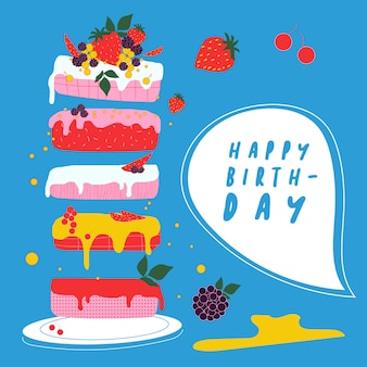 Birthday cake with fruits. blue background.