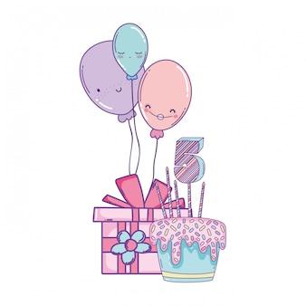 ギフト漫画付きの誕生日ケーキ