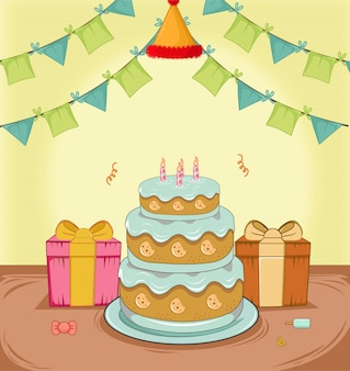 Birthday cake with give, flag decoration,and hat flat design vector