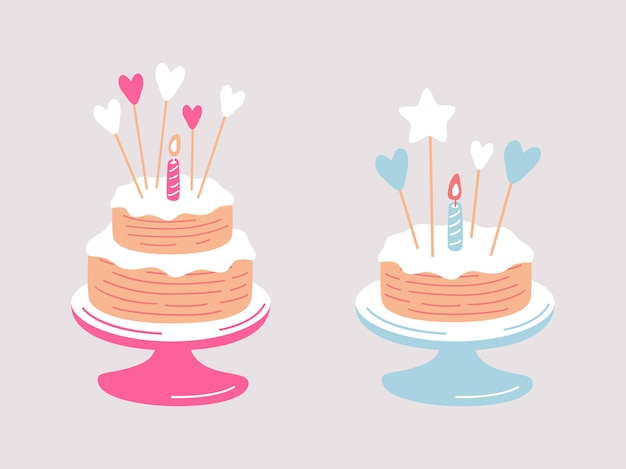 Birthday cake with heart decor and burning candle on light background.