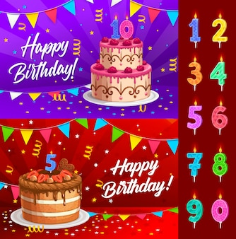 Birthday cake with numbered candles greeting card