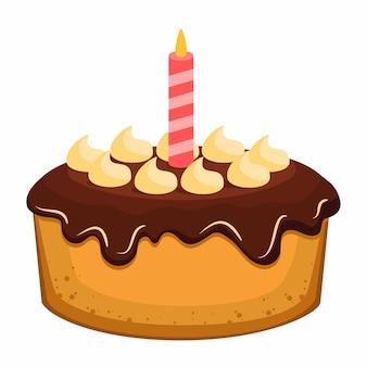하나의 불타는 초 생일 케이크 프리미엄 벡터