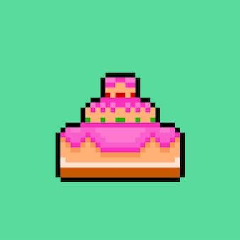 픽셀 아트 스타일의 생일 케이크