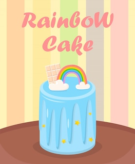 Birthday cake with rainbow