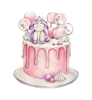 Birthday cake with unicorn Premium Vector