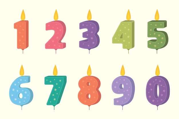 Birthday cakecandle set. candle numbers for cake. candles collection for party decoration.