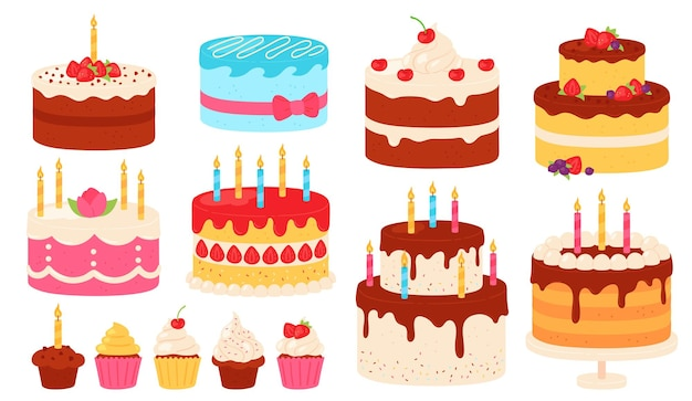 Birthday cakes. chocolate and pink cake with cream icing and candles. cartoon sweet cupcakes for party. happy anniversary vector set. birthday cake dessert with cream, bakery delicious illustration