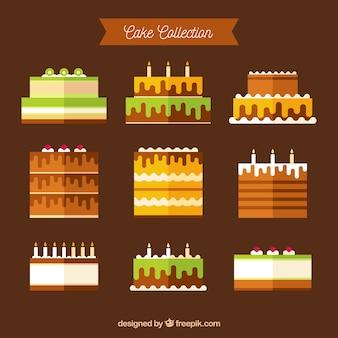 Collezione di torte di compleanno in stile piatto