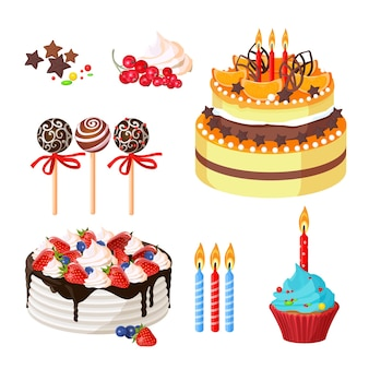 Birthday cakes decorated with fruit and holiday attributes as candles confetti