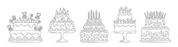 誕生日ケーキ線形フラットセット。漫画ラインのおいしいデザート。パーティーパイのデザイン要素、キャンドル、チョコレートスライス、クリーム。ホリデーパーティーのお菓子。白い背景で隔離の図