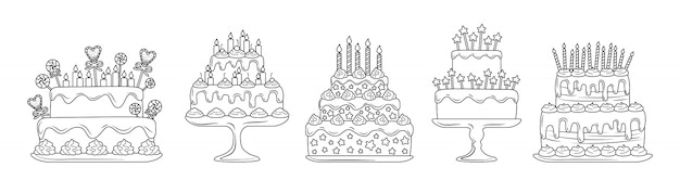 Birthday cakes linear flat set. cartoon line delicious desserts. party pie design elements, candles and chocolate slices, cream. holiday party sweets.  illustration isolated on white background