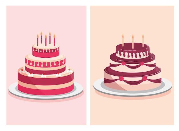 バースデーケーキの甘いクリームと装飾的なキャンドルのイラスト