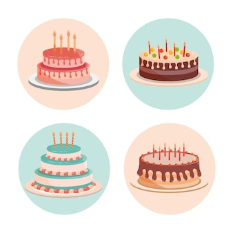 Birthday cakes with candles and delicious cream  illustration