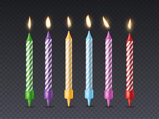 Birthday candle. candlelight birthday party cake wax burning candle with flicker fire for holiday cakes isolated set