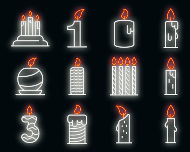 Birthday candle icons set. outline set of birthday candle vector icons neoncolor on black