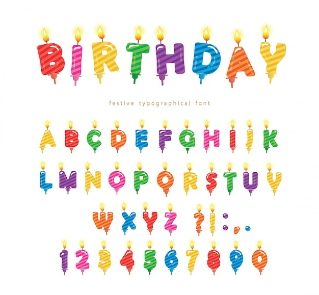 Birthday candles colorful font design