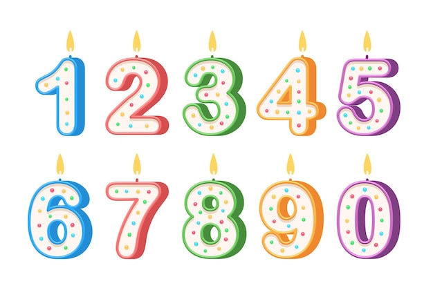 Birthday candles in the form of numbers isolated on white