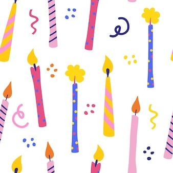 誕生日のキャンドルのシームレスなパターン。お祝い、挨拶はがきの背景。