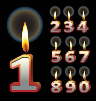 생일 촛불. 생일 이벤트 디자인에 사용합니다. 프리미엄 벡터