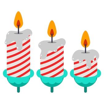 생일 촛불 벡터 만화 세트 흰색 배경에 고립.