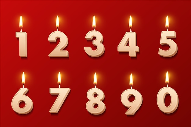 Birthday candles with burning flames isolated on red background.