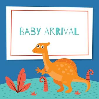 かわいい恐竜のテーマの子供のための誕生日カードと赤ちゃん到着