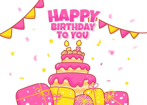 Birthday card background hand drawn cartoon art illustration