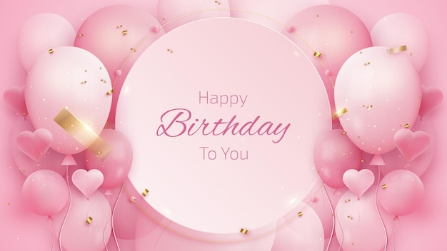 Birthday card background with balloons and gold ribbon.