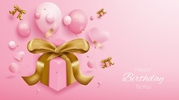 Birthday card background with gift box, balloons and gold ribbon. 3d luxury realistic style on pink background. vector illustration creative for design.