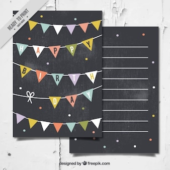 Birthday card in blackboard style with garlands