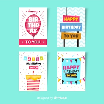 Birthday card collection in flat style
