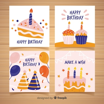 Birthday card collection in hand drawn style