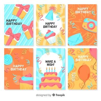 생일 카드 컬렉션을 손으로 그린 스타일