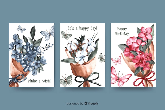 Birthday card collection in watercolor style