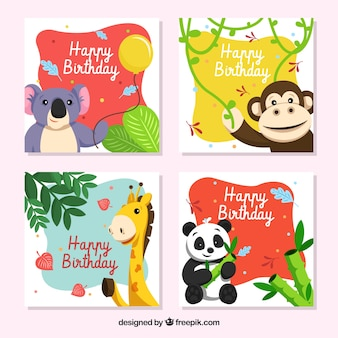 Birthday card collection with smiley animals