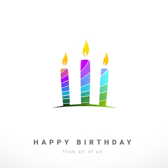 Birthday Card Colorful Layered Silhouette of Candle