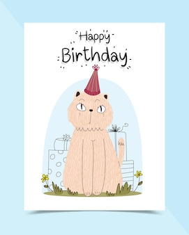 Birthday card decorated with cats sitting on the grass