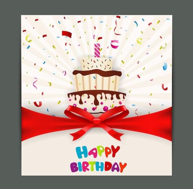 Дизайн поздравительной открытки с тортом