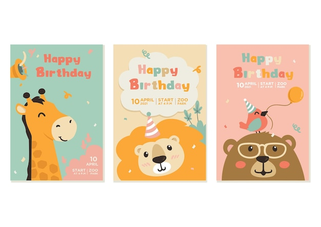 Birthday card design with cute animals
