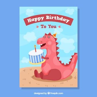 Дизайн поздравительной открытки с динозавром