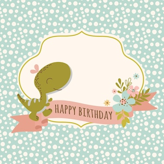 Birthday card dino hand drawn flat design grunge style cartoon prehistoric animal