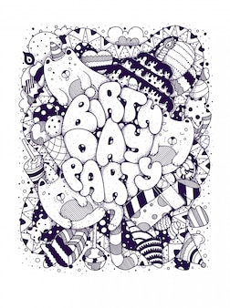 Birthday card doodles, vintage cartoon black lettering. happy birthday party.