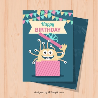 Birthday card in flat design